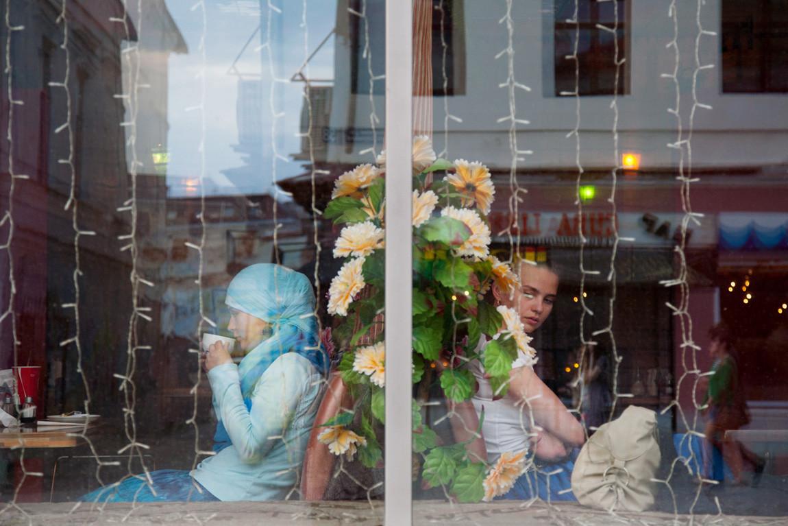 Diners in Meat House, halal restaurant, Bauman Street, Kazan, Russia