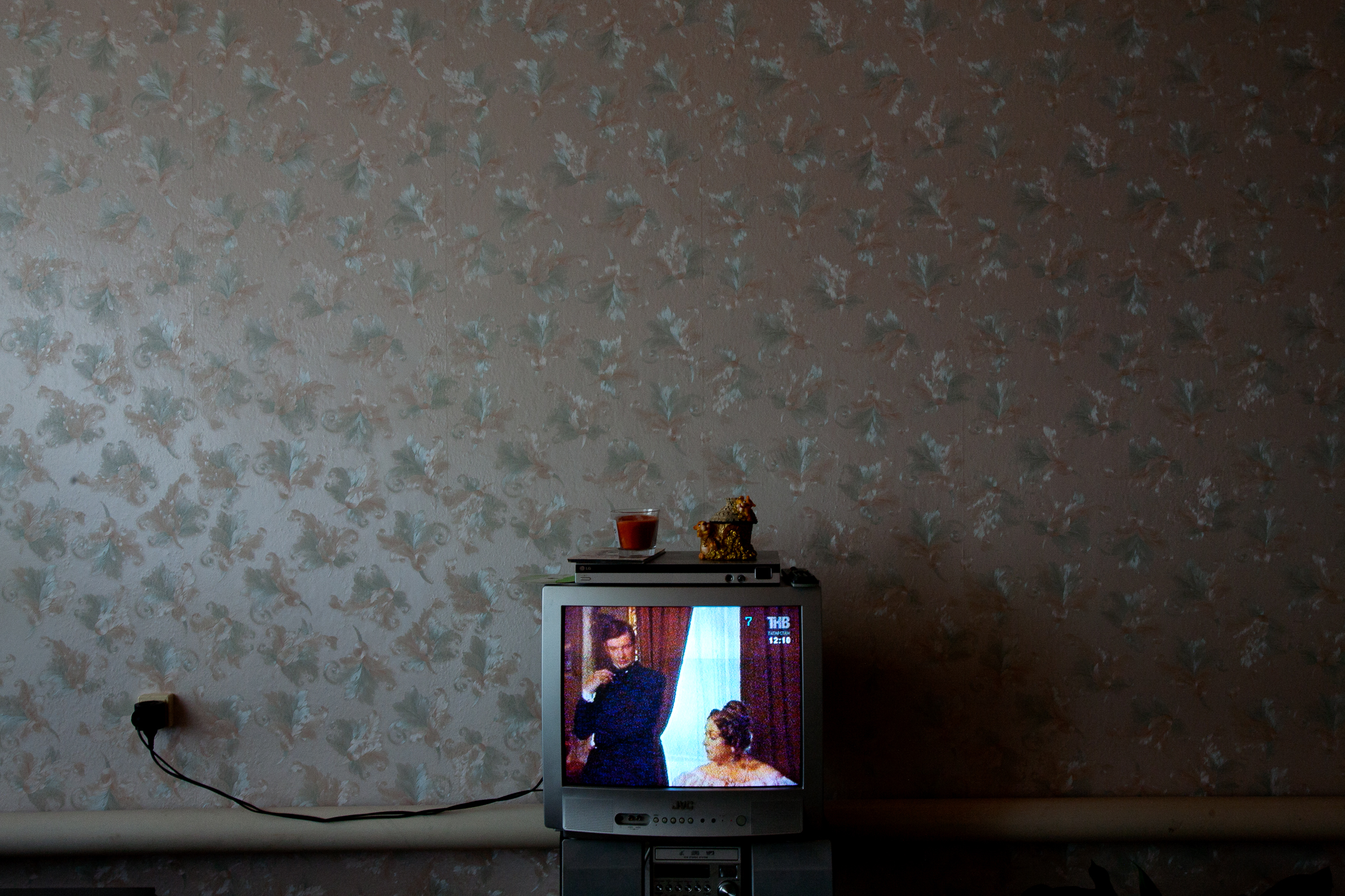 A Russian soap opera lights up the television in a Tatar home in Aktanish.